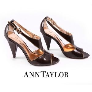 Ann Taylor Brown Patent Peep Toe Strappy Heels -7M